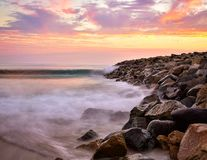 Sunset at Carlsbad Jetty. Long exposure at sunset in Carlsbad, California San Diego County royalty free stock photography