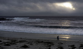 Sunset at Carmel beach on a stormy day Stock Photo