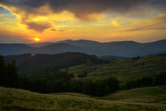 Sunset in Carpathian Mountains Royalty Free Stock Image