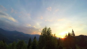 Sunset in Carpathian Mountains. stock video
