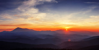 Sunset in Carpathian Mountains Royalty Free Stock Images