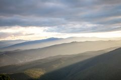 Sunset in Carpathian mountains Stock Photography