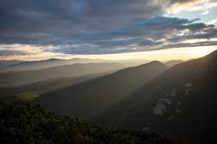 Sunset in Carpathian mountains Royalty Free Stock Image