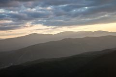 Sunset in Carpathian mountains Stock Images