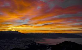 Sunset. On Carpathian Mountains, Piatra Craiului Royalty Free Stock Images