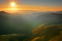 Sunset in Carpathians Stock Photography