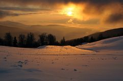 Sunset in the Carpathians mountains Royalty Free Stock Images