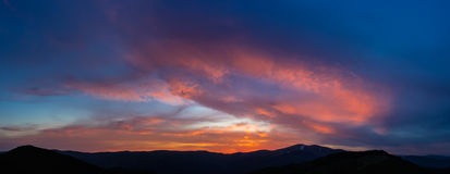 Sunset in the Carpathians Royalty Free Stock Photography