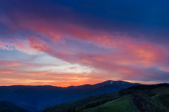 Sunset in the Carpathians Stock Image