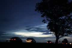 Sunset with cars Stock Photography