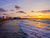 Sunset in Casablanca, Morocco. Sunset on the shore of Casablanca, Morocco, Africa stock image