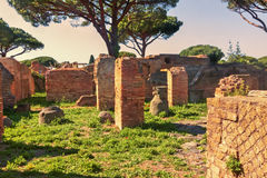 Sunset in Caseggiato dei Molini archaeological excavations of Ostia Antica Royalty Free Stock Photos