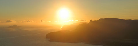 Sunset on Cassis coast. Sunset on Cassis and the calanques - Marseille - South of France - Panorama Royalty Free Stock Photo