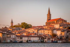 Sunset in Castelnaudary, France. Castelnaudary is a commune in the Aude department in the Languedoc-Roussillon region in south France. It is in the former Royalty Free Stock Image