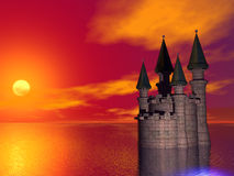 Sunset Castle. Surreal rendered image of a castle at sunset Stock Image