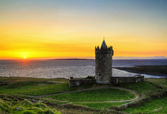 Sunset at the castle - HDR. Doolin castle at sunset - Ireland - HDR Royalty Free Stock Image
