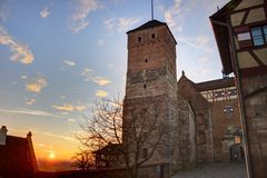 Sunset from the castle of Nuremberg Royalty Free Stock Photos