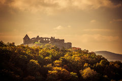 Sunset castle. Visegrad Hungary, Danube river and Medieval castle Royalty Free Stock Image