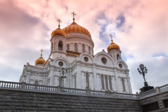 Sunset at Cathedral of Jesus Christ the Saviour, Moscow Royalty Free Stock Images