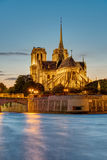 Sunset at the Cathedral of Notre Dame in Paris Royalty Free Stock Photos