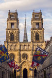 Sunset by Cathedral Sainte-Croix in Orleans Royalty Free Stock Images
