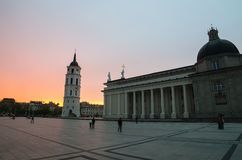 Sunset in Cathedral Square of Vilnius Stock Photo