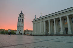 Sunset in Cathedral Square of Vilnius, Lithuania Royalty Free Stock Photography