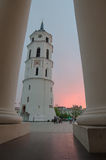 Sunset in Cathedral Square of Vilnius, Lithuania Royalty Free Stock Image