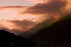 Sunset in Caucas Mountains. In summer Stock Image