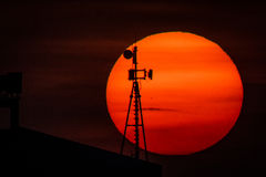 Sunset. With Cellular Tower silhouette Stock Image