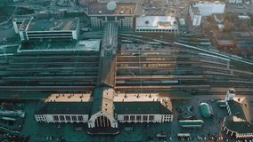 Sunset at the central railway station. Of  Kyiv, Ukraine  - Cityscape Aerial Flight stock video