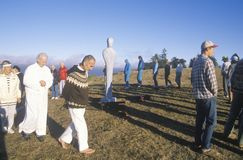 A sunset ceremony for an earth new age gathering in Big Sur California Stock Image
