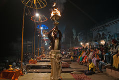 The Sunset Ceremony, Ganges River Royalty Free Stock Image