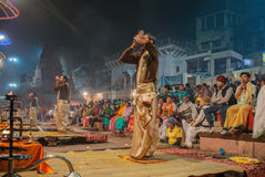 The Sunset Ceremony, Ganges River Stock Photos