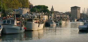 Sunset in Cervia Stock Images