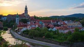 Sunset in Cesky Krumlov skyline time lapse in Czech Republic stock video footage