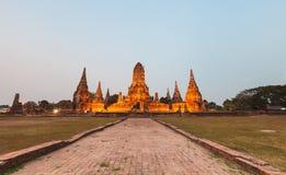 Chaiwatthanaram Temple. Sunset  at Chaiwatthanaram Temple, Ayutthaya, Thailand Stock Image