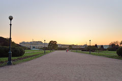 Sunset on the Champ de Mars. In Saint-Petersburg Stock Photography