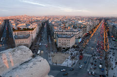 Sunset at Champ Elysee on Paris Royalty Free Stock Photos