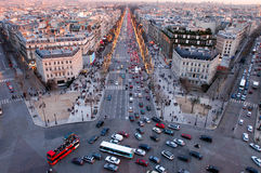 Sunset at Champ Elysee on Paris Stock Image