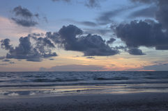 Sunset at Chantaburi beach scene Stock Photos