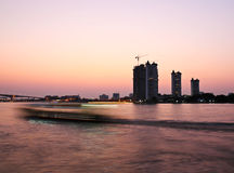 Sunset at Chao Phraya river Stock Image