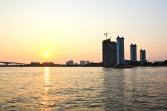 Sunset at Chao Phraya river Royalty Free Stock Image