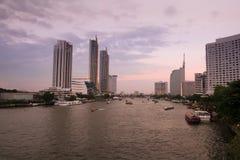 Sunset at Chao Phraya river. Bangkok, Thailand stock images