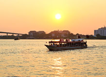 Sunset at Chao Phraya river Stock Photo