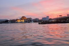 Sunset on the Chao Phraya River. Circle December 2016 Royalty Free Stock Photography