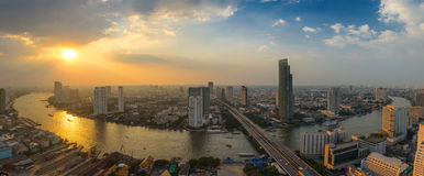 Sunset at Chao Phraya river curve Stock Photo