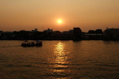 Sunset at Chaophraya River. Royalty Free Stock Images