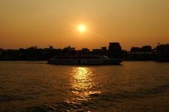 Sunset at Chaophraya River. Royalty Free Stock Image