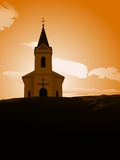 Sunset chapel. Vector illustration of chapel on the hill in the sunset Stock Photography